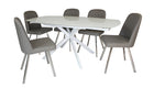 Evolution Motion Dining Table in White with 4 Dining Chairs - AHF Furniture & Carpets
