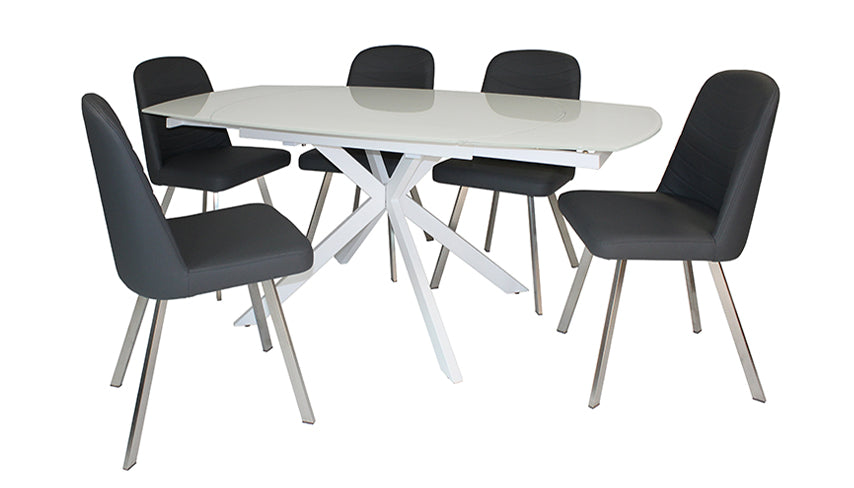 Evolution Motion Dining Table in White with 4 Dining Chairs