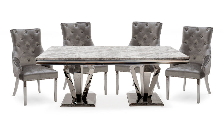 Amour 1.8m Marble Dining Table with 4 Chairs