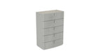 Kiera 5 Drawer Tall Chest with Glass Top