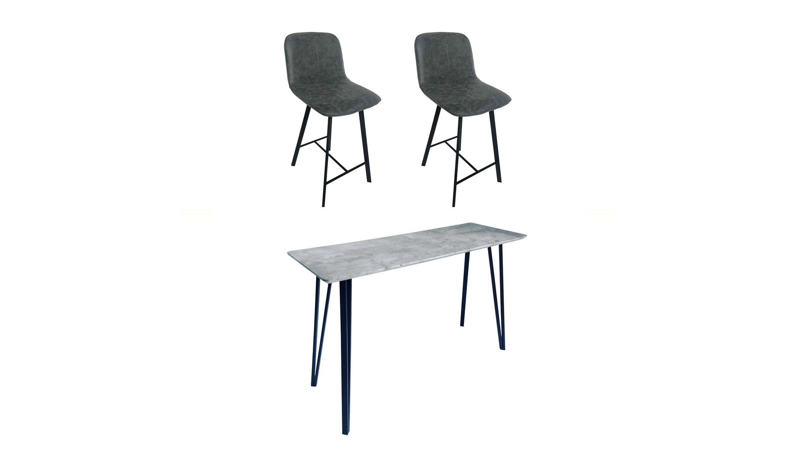 Tetro Concrete Effect Bar Table and 2 Bar Stools