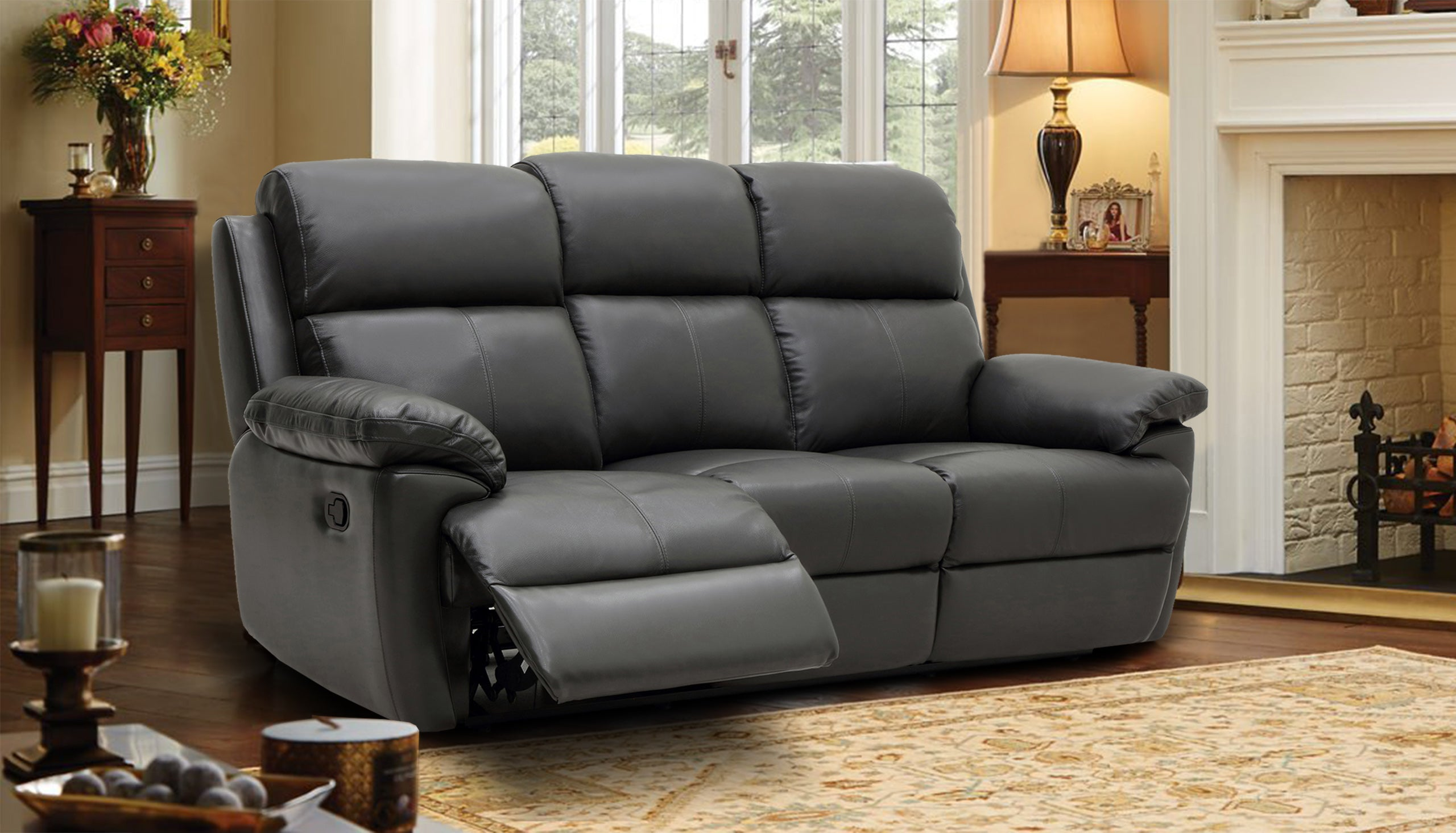 Blair 3 Seater Manual Recliner Sofa in Leather