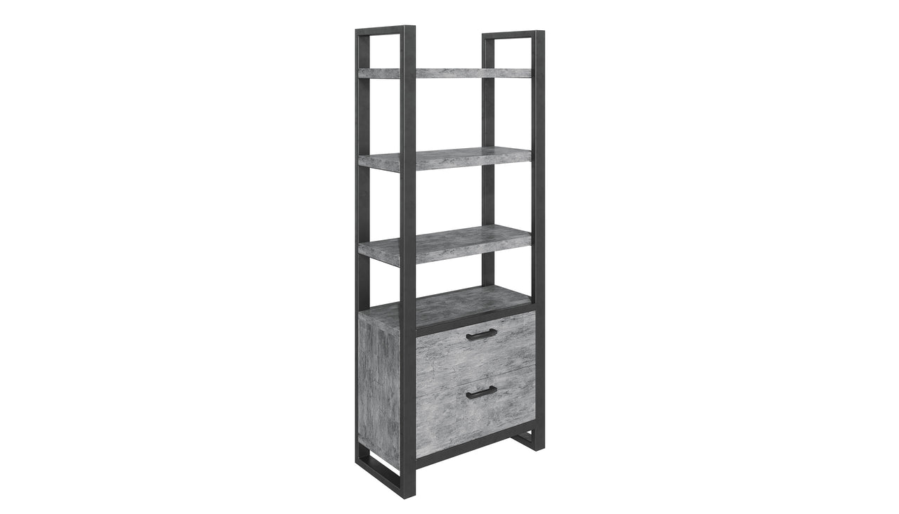 Brooklyn Concrete Bookcase with Drawers