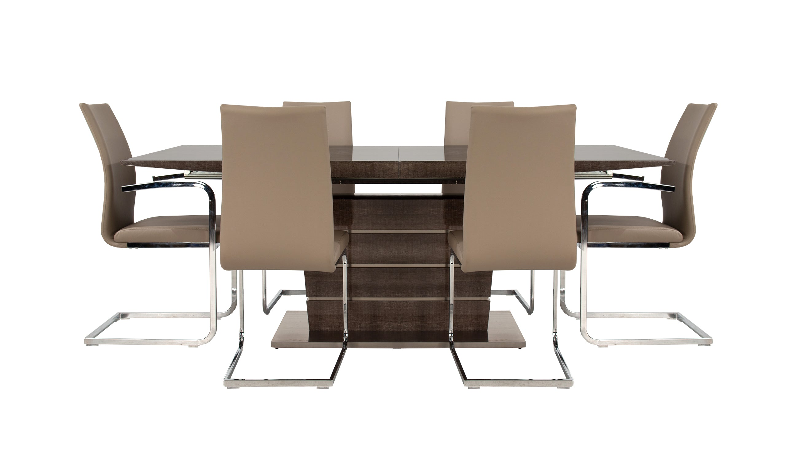 Lorrenzo High Gloss Dining Table with 4 Chairs and 2 Armchairs