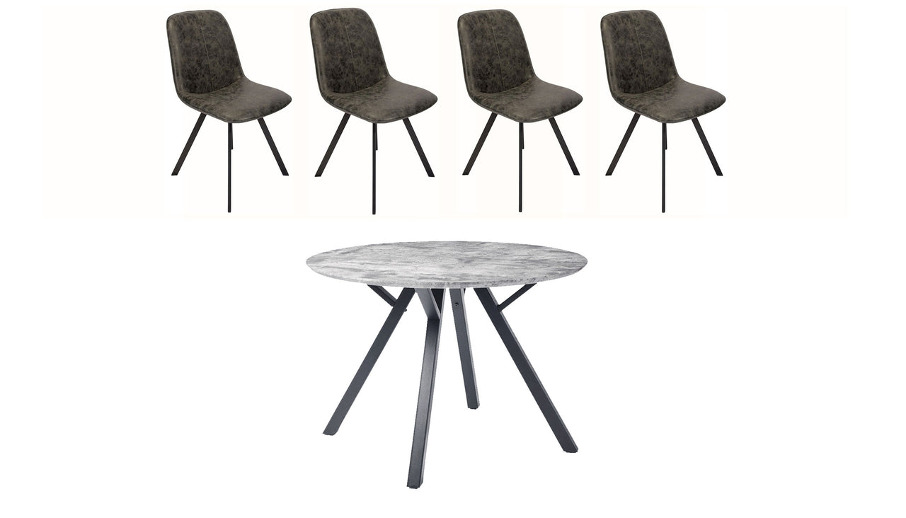 Tetro Round Concrete Effect Dining Table with 4 Dining Chairs