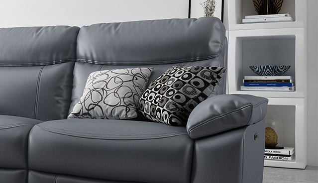 Dynamic 2 Seater Power Recliner Sofa in Leather with Power Headrests