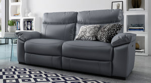 Dynamic 3 Seater Recliner Sofa in Leather with Headrests