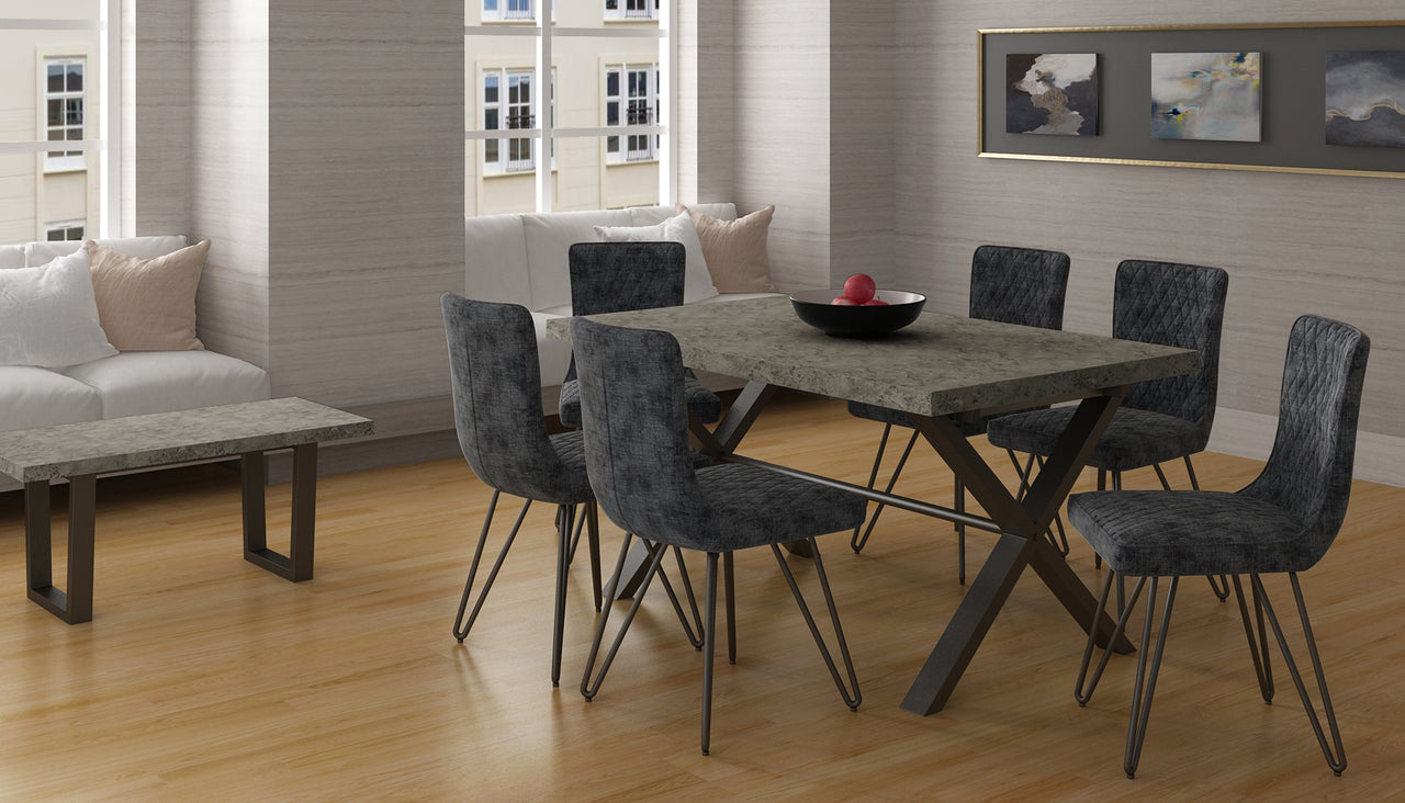 Brooklyn Concrete Effect Large Dining Table with 4 Chairs