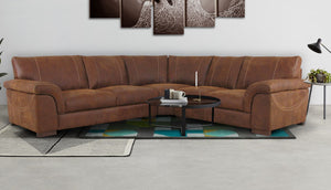 Guy Large Corner Sofa in Leather