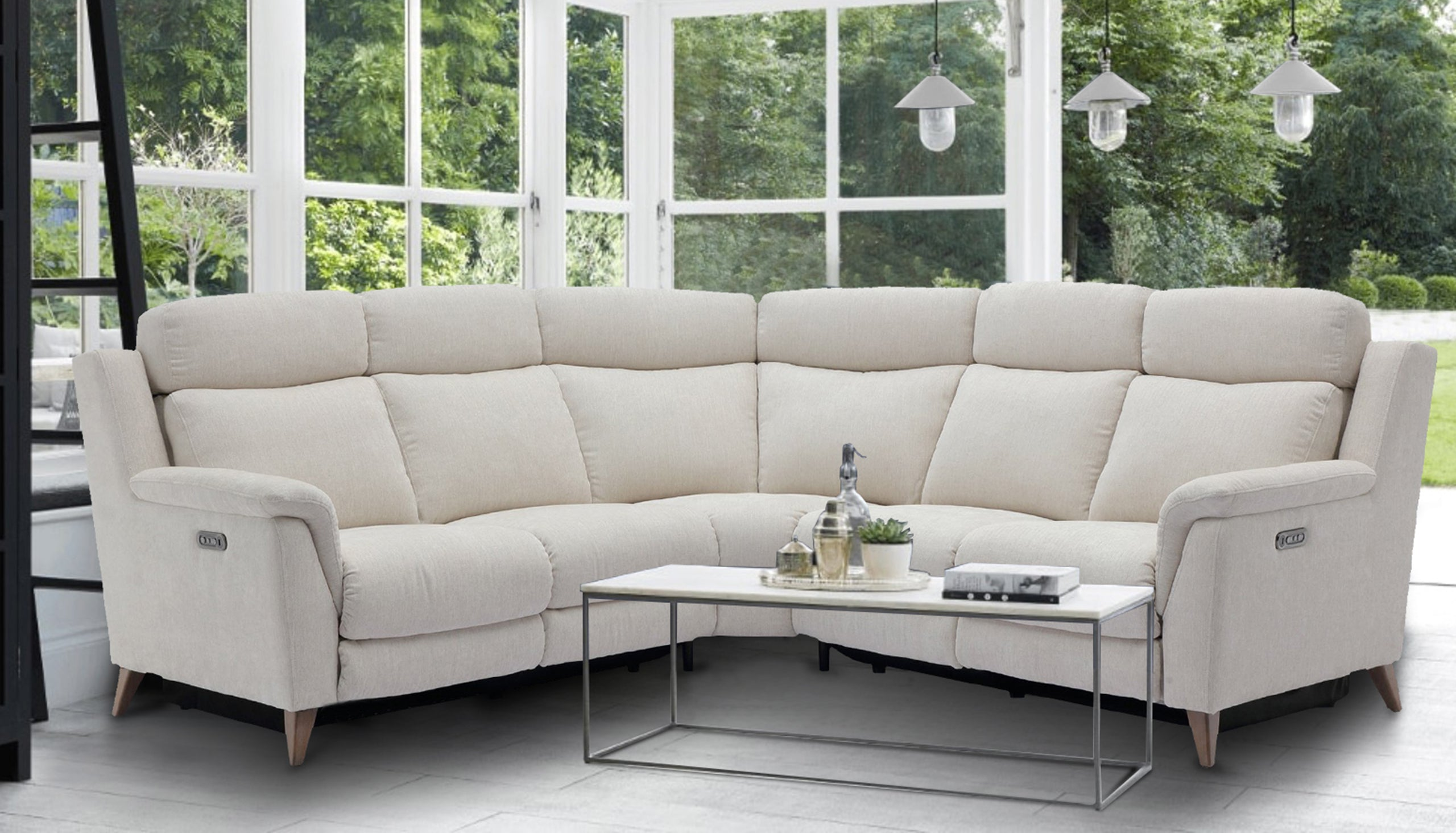 Sienna Large Double Power Recliner Corner Sofa with Power Headrests in Fabric