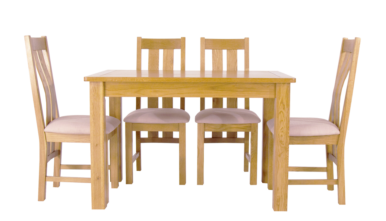 Arlington Oak Fixed Dining Table with 4 Chairs