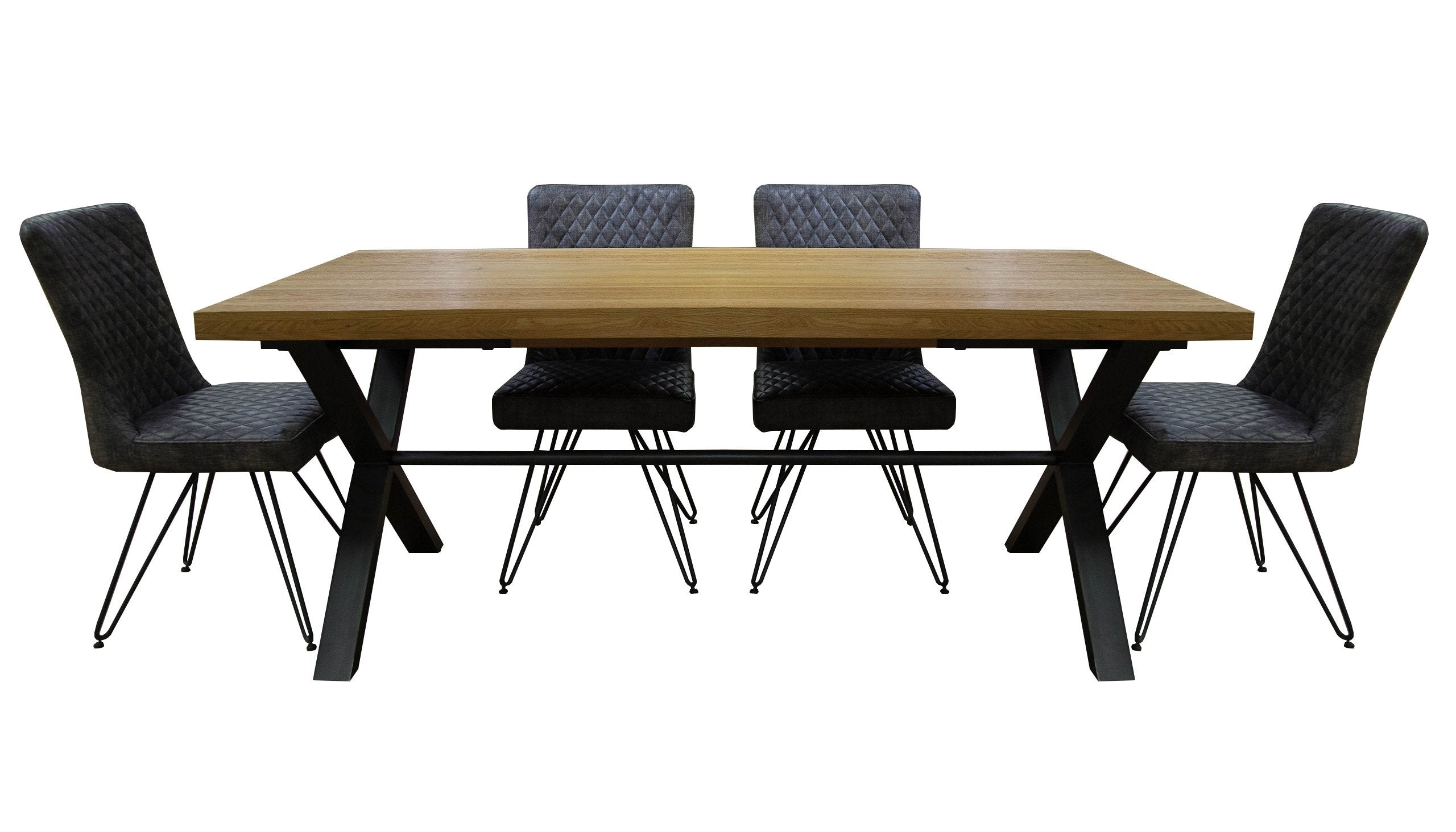 Brooklyn Oak Large Dining Table with 4 Chairs - AHF Furniture & Carpets