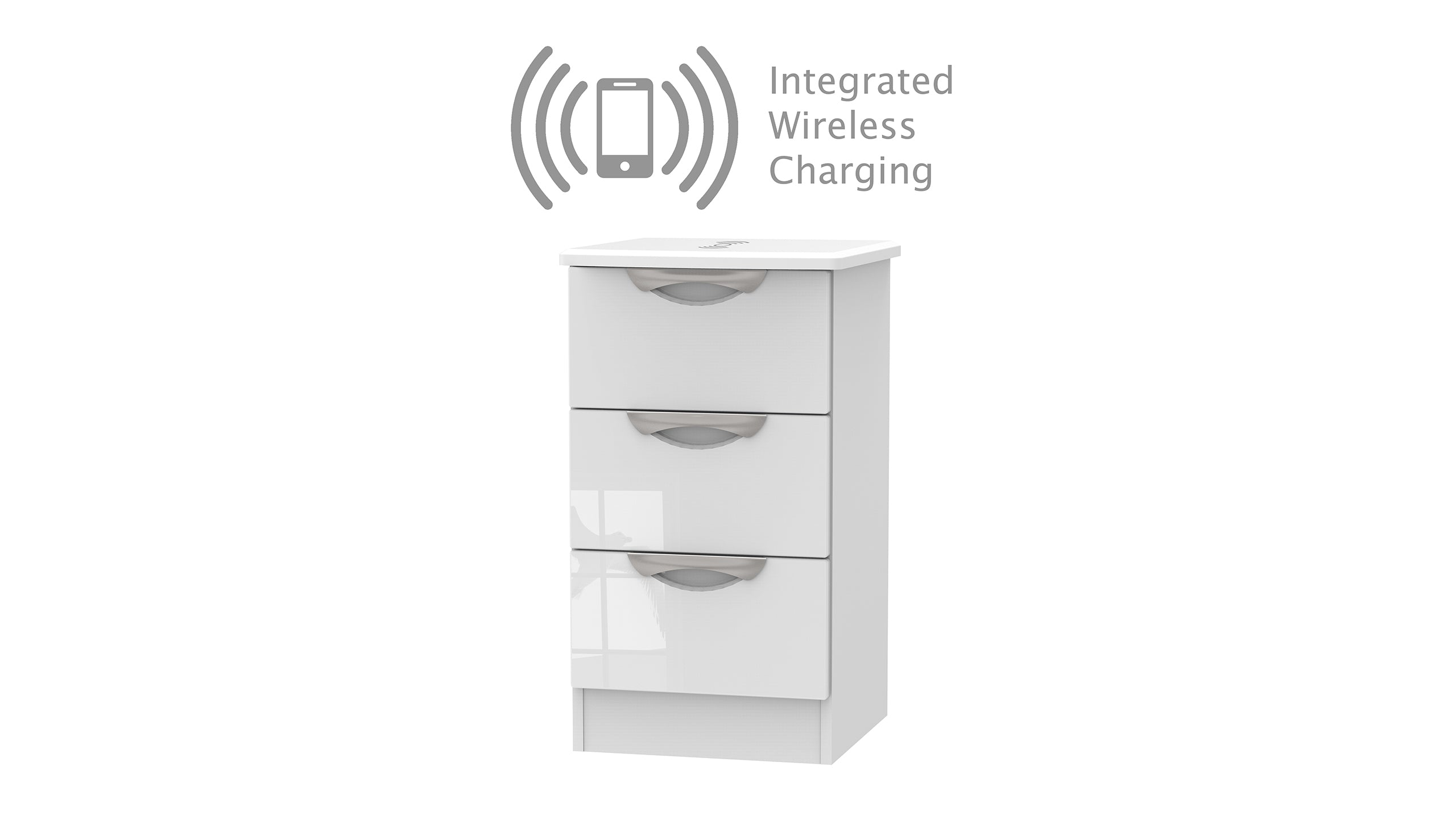 Moda 3 Drawer Bedside Chest with Wireless Charger - AHF Furniture & Carpets