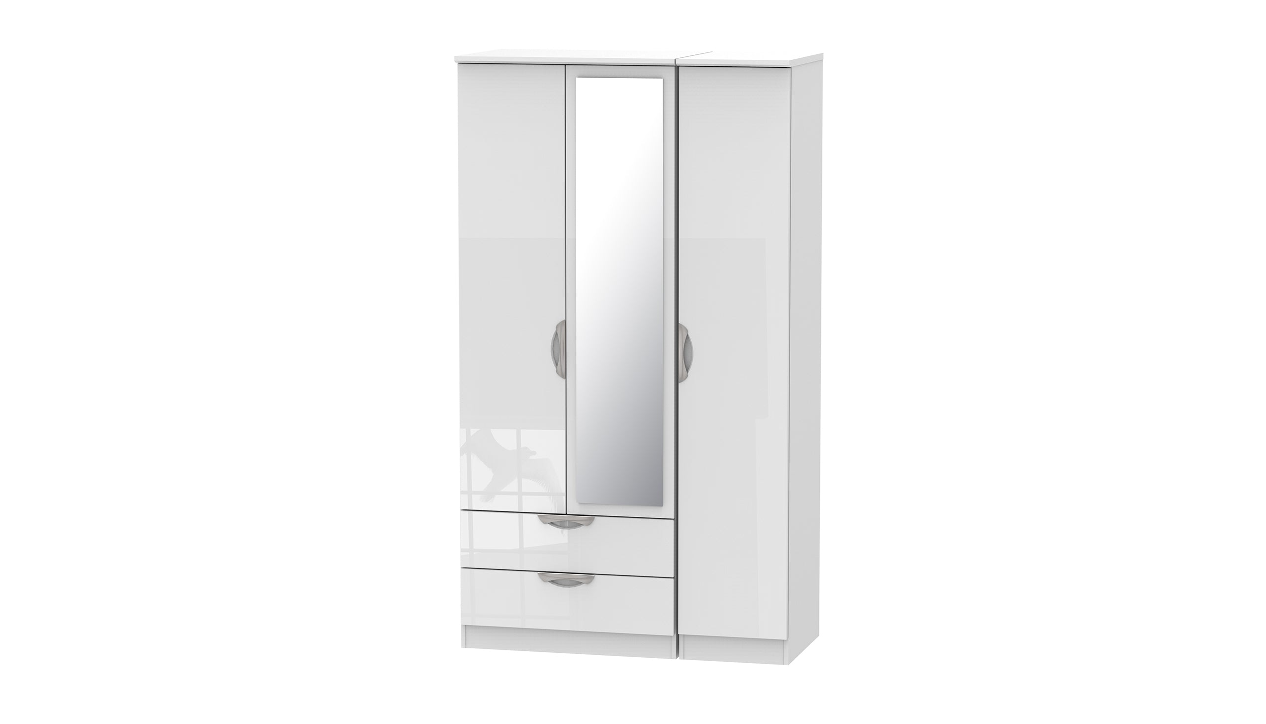 Moda Tall 3 Door 2 Drawer 1 Mirror Wardrobe - AHF Furniture & Carpets