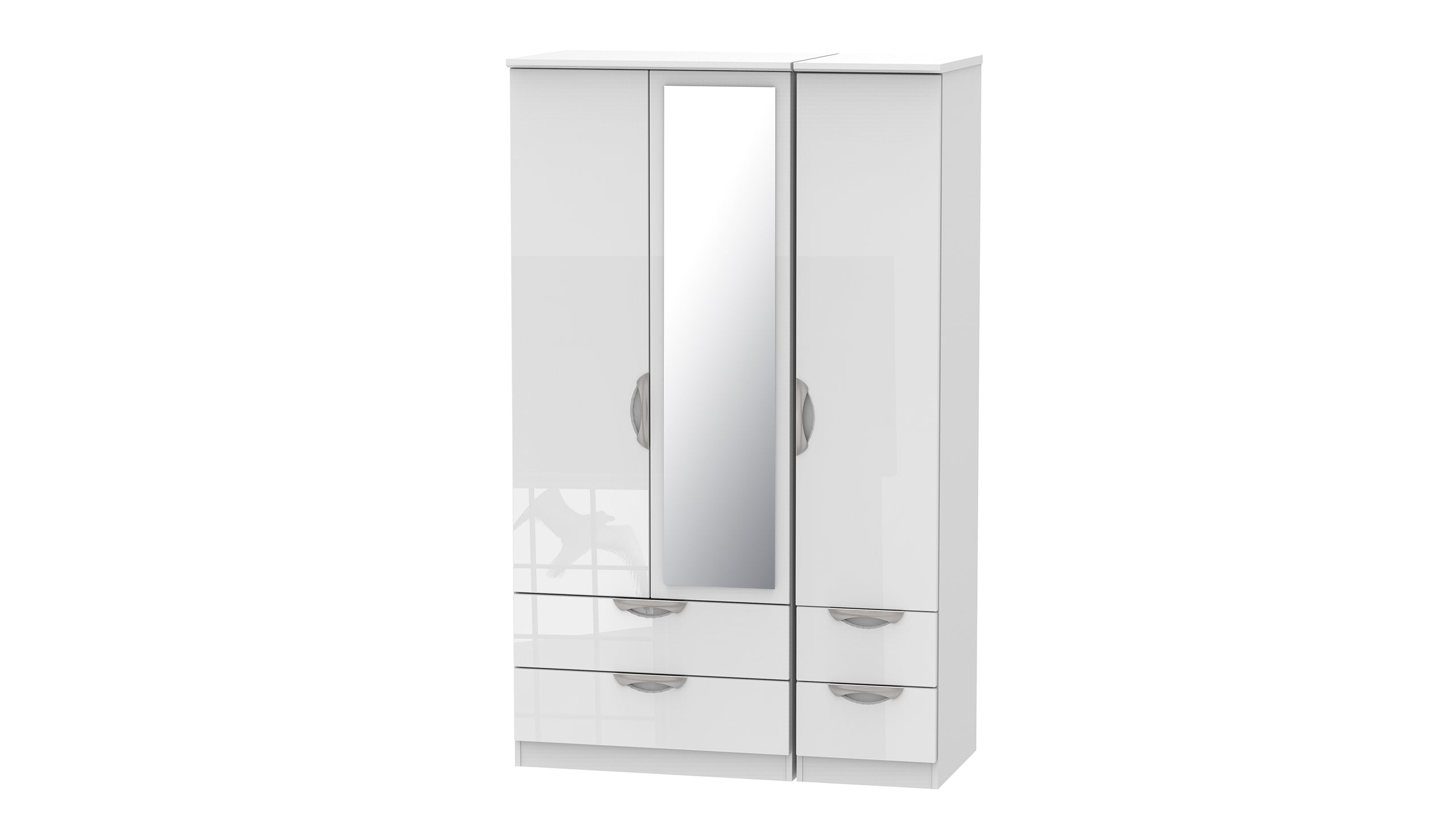 Moda 3 Door 4 Drawer 1 Mirror Wardrobe - AHF Furniture & Carpets