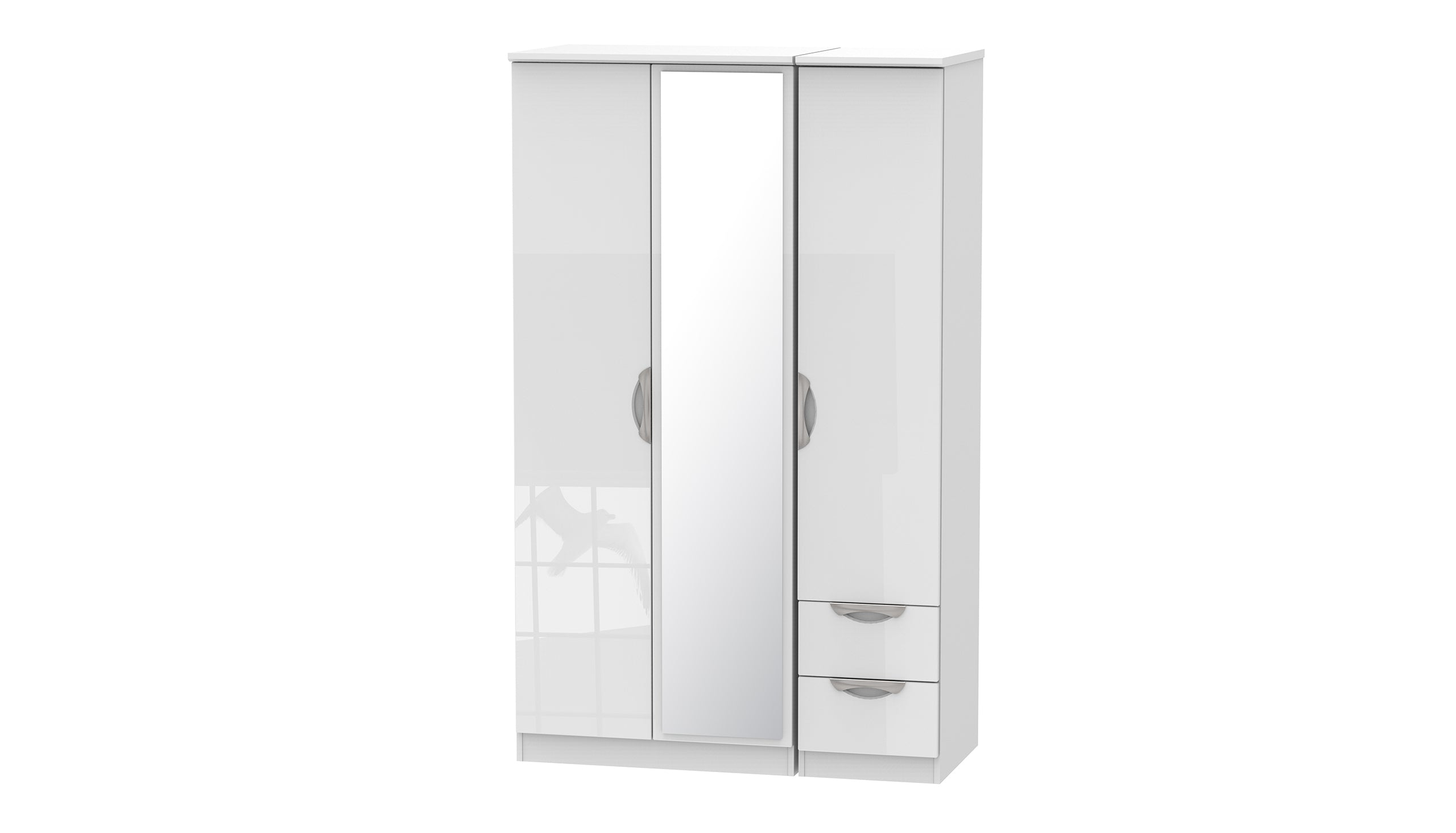 Moda 3 Door 2 Small Drawer 1 Mirror Wardrobe - AHF Furniture & Carpets