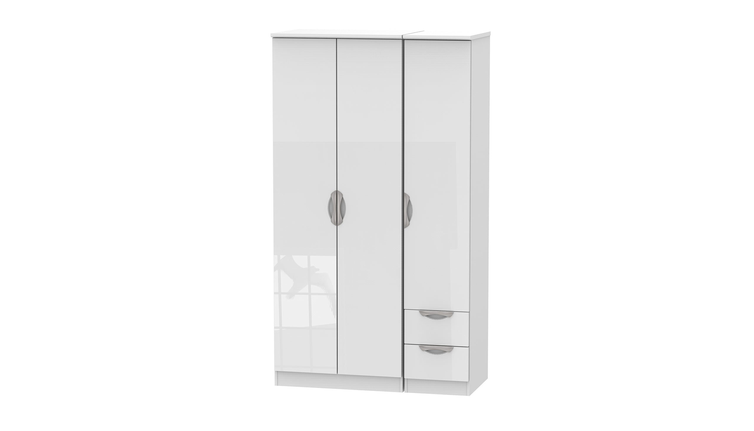 Moda Tall 3 Door 2 Small Drawer Wardrobe - AHF Furniture & Carpets
