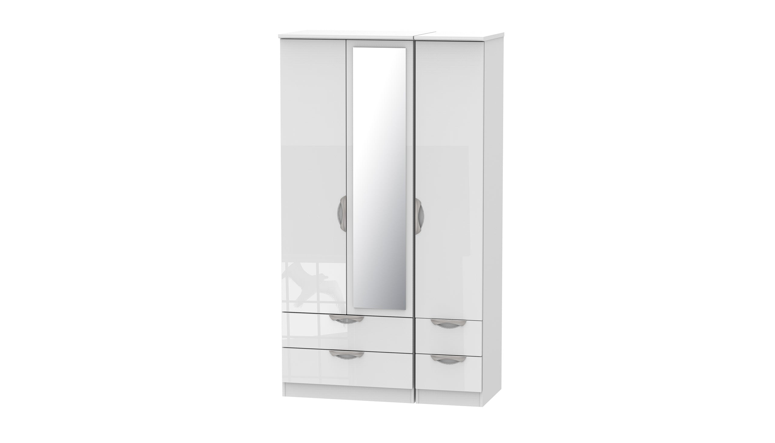 Moda Tall 3 Door 4 Drawer 1 Mirror Wardrobe - AHF Furniture & Carpets