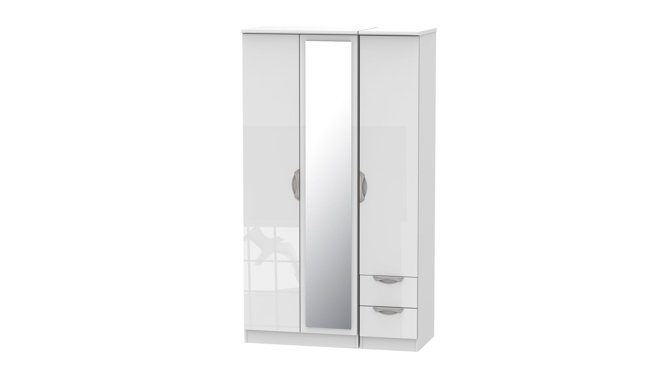 Moda Tall 3 Door 2 Small Drawer 1 Mirror Wardrobe - AHF Furniture & Carpets