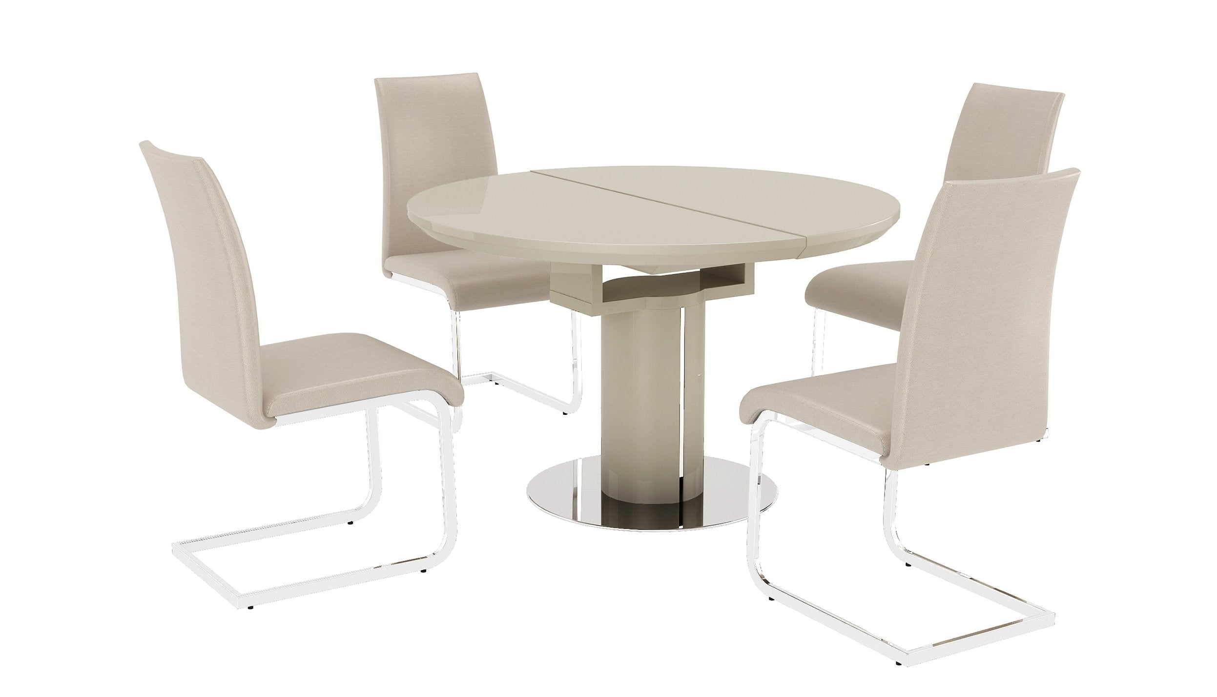 Kyoto Cream Round Extending Dining Table with 4 Chairs - AHF Furniture & Carpets