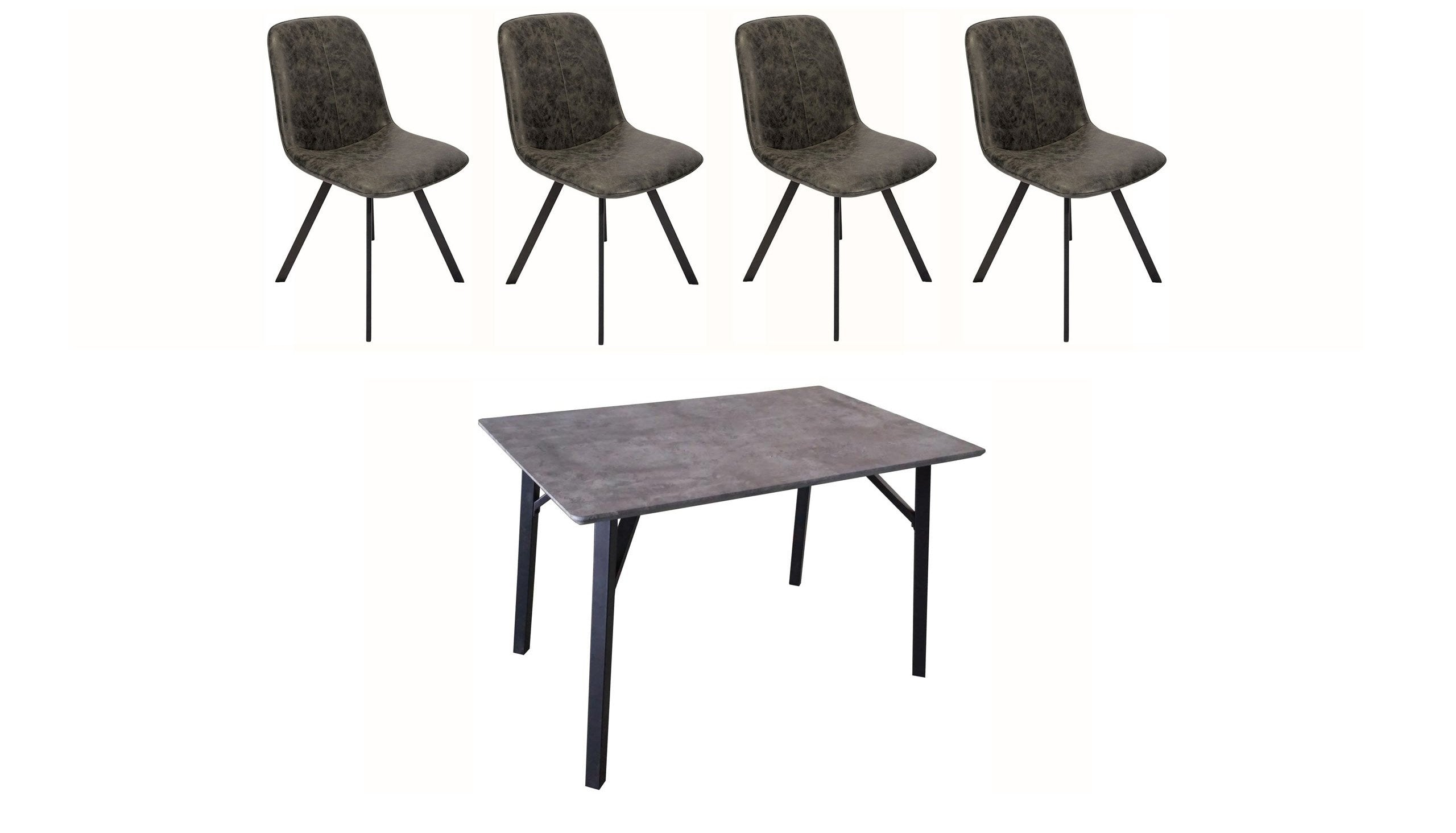 Tetro Concrete Effect Dining Table with 4 Tetro Chairs - AHF Furniture & Carpets