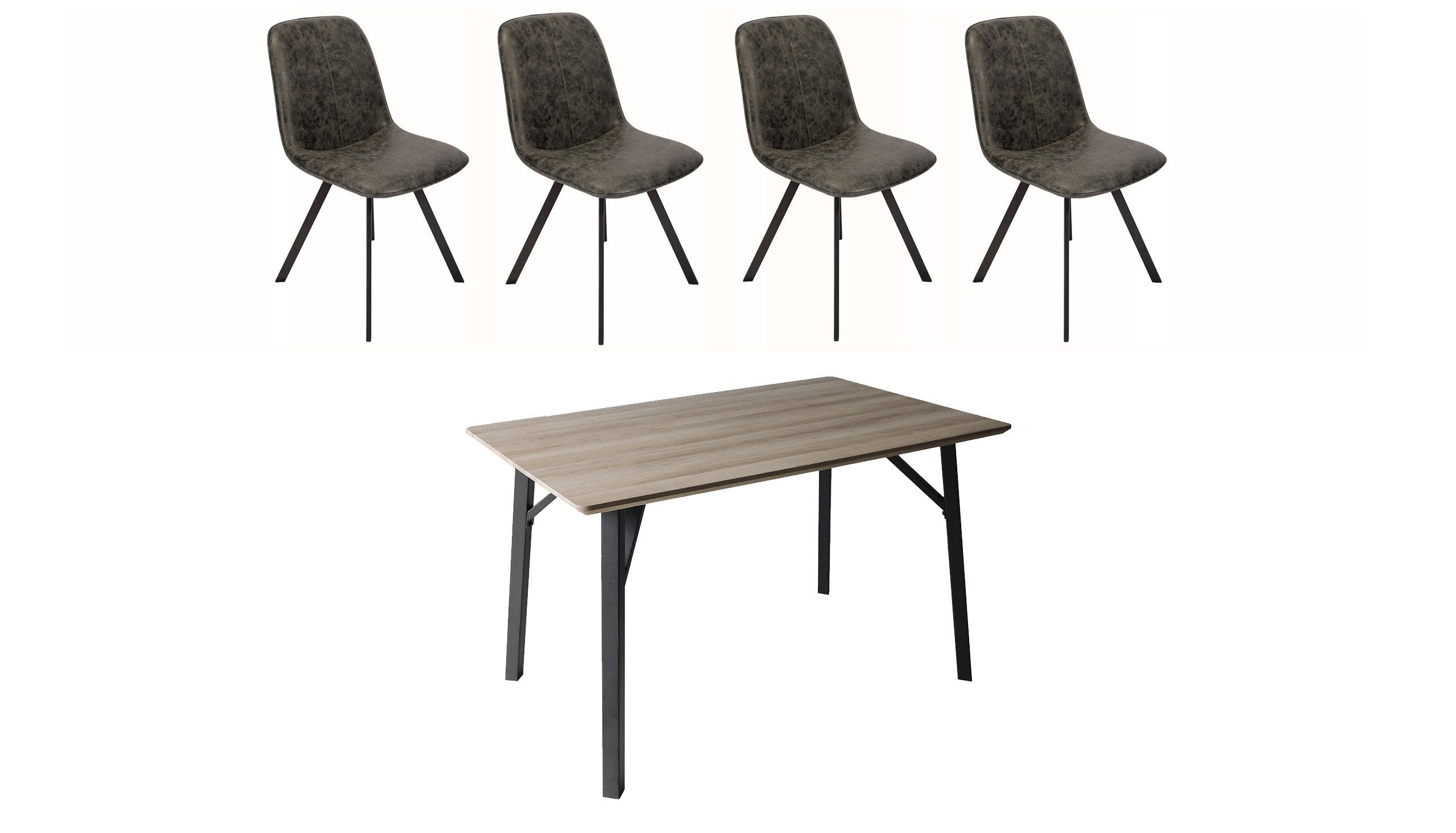 Tetro Grey Wood Effect Dining Table with 4 Tetro Chairs - AHF Furniture & Carpets