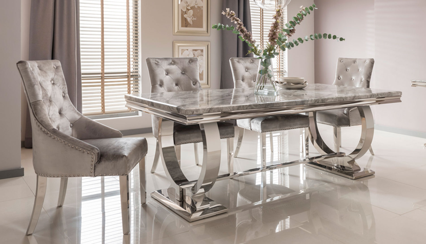 Romance Cream 2m Marble Dining Table 4 Chairs Fabb Furniture