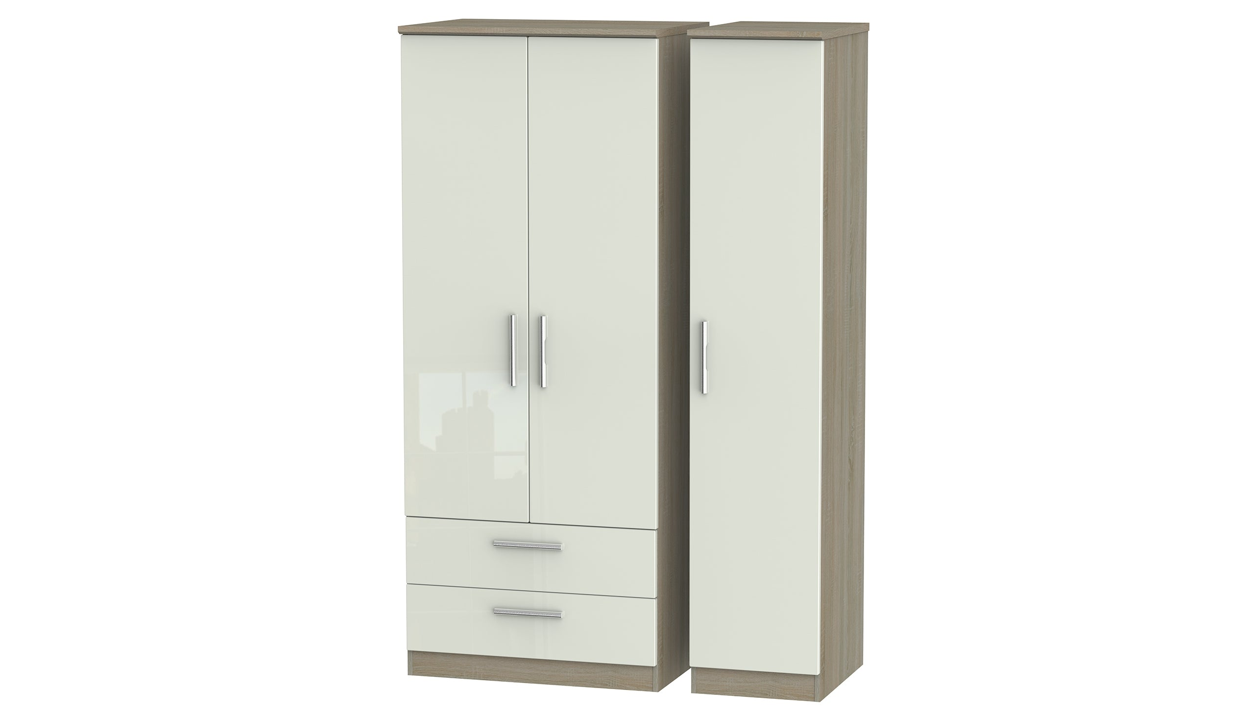 Burnham triple wardrobe with 2 drawers - AHF Furniture & Carpets