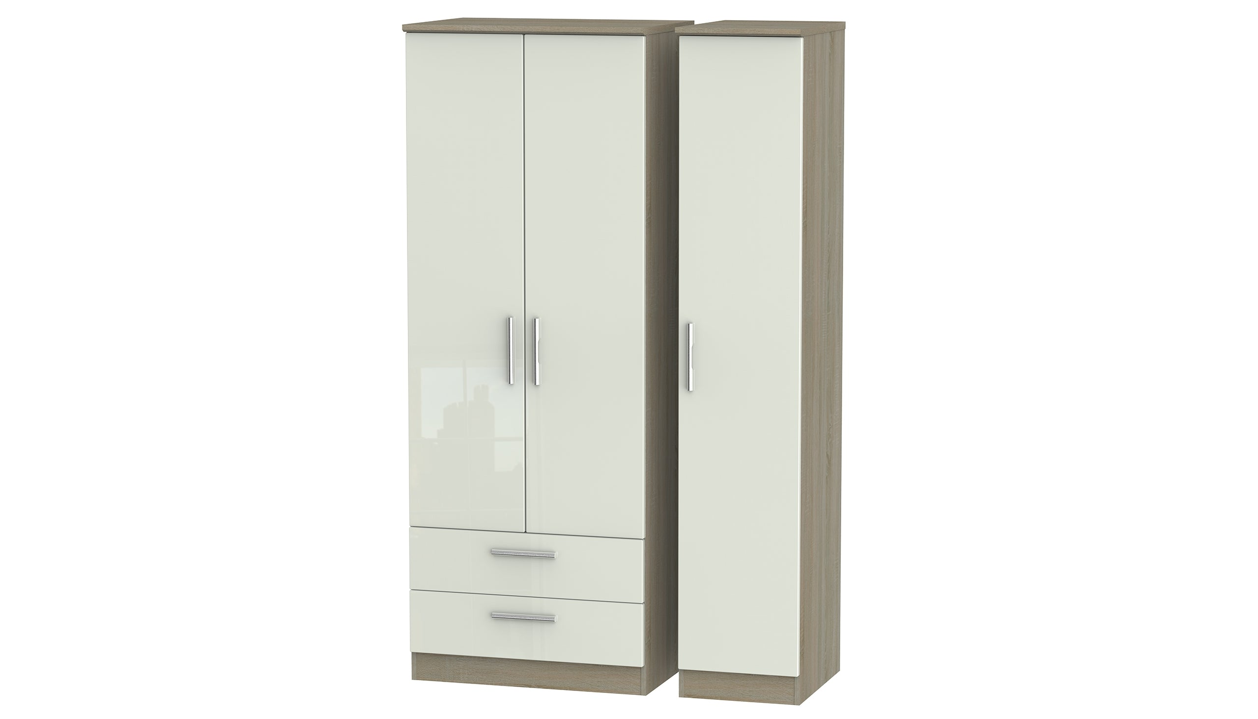 Burnham Tall 3 Door Wardrobe with 2 Drawers - AHF Furniture & Carpets