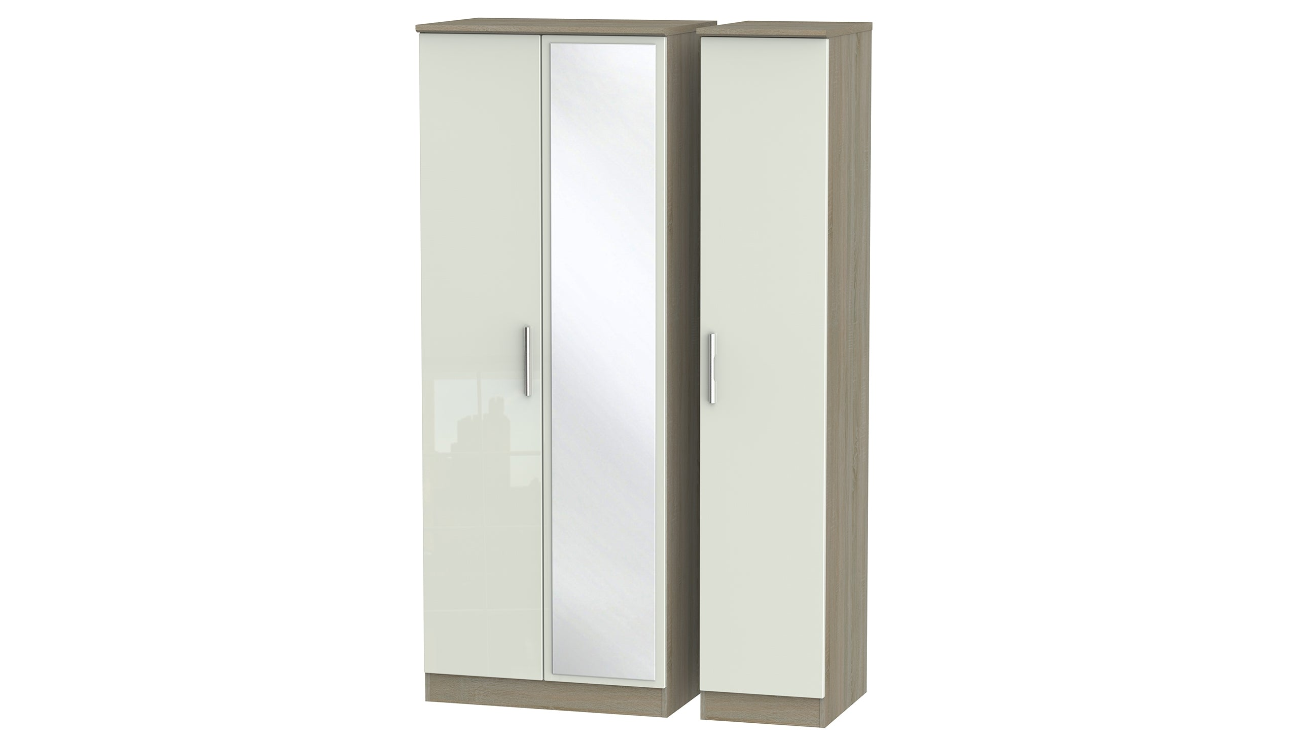 Burnham Tall 3 Door Mirrored Wardrobe - AHF Furniture & Carpets