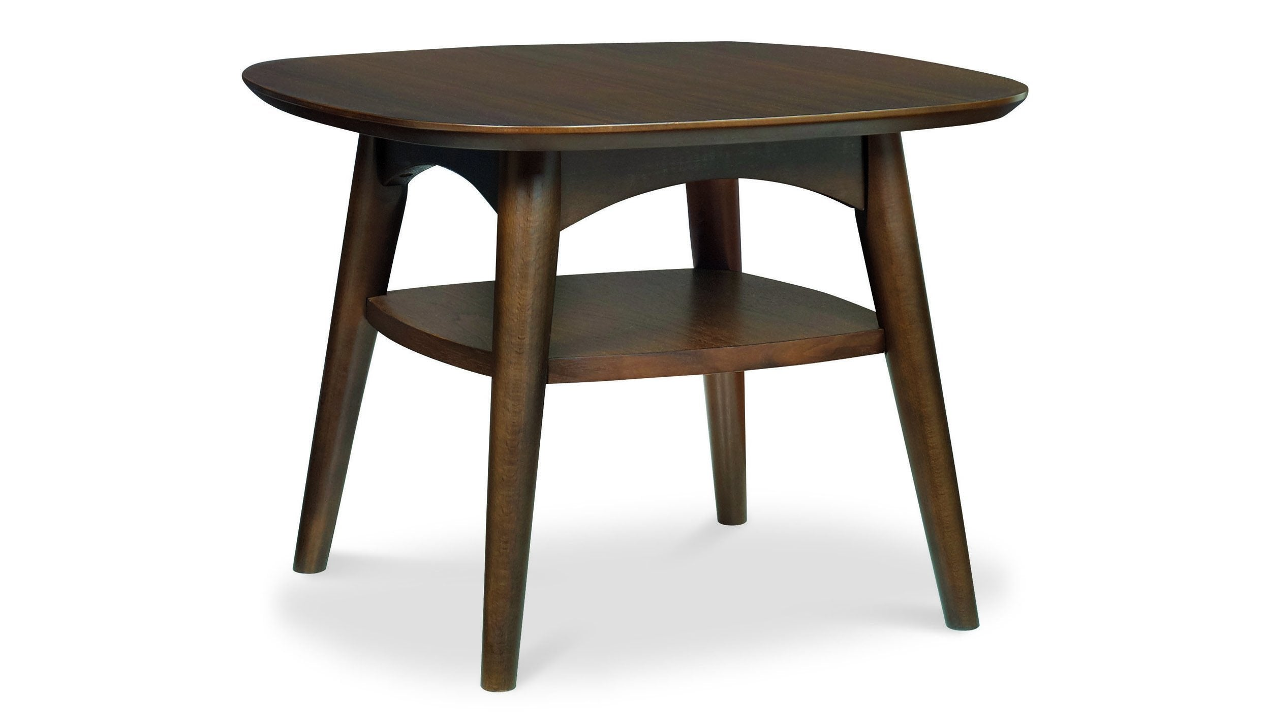Oslo Walnut Side Table with Shelf - AHF Furniture & Carpets