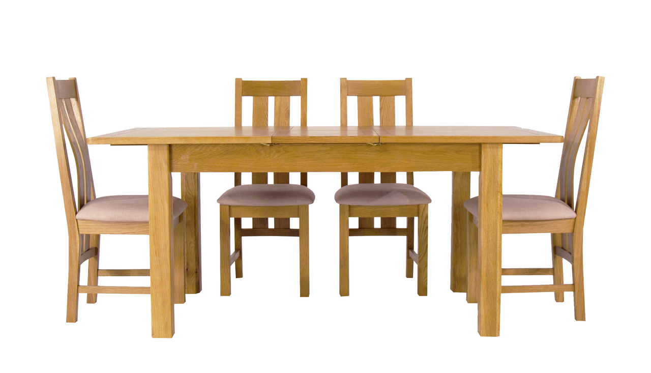 Arlington Oak Extending Dining Table with 4 Chairs