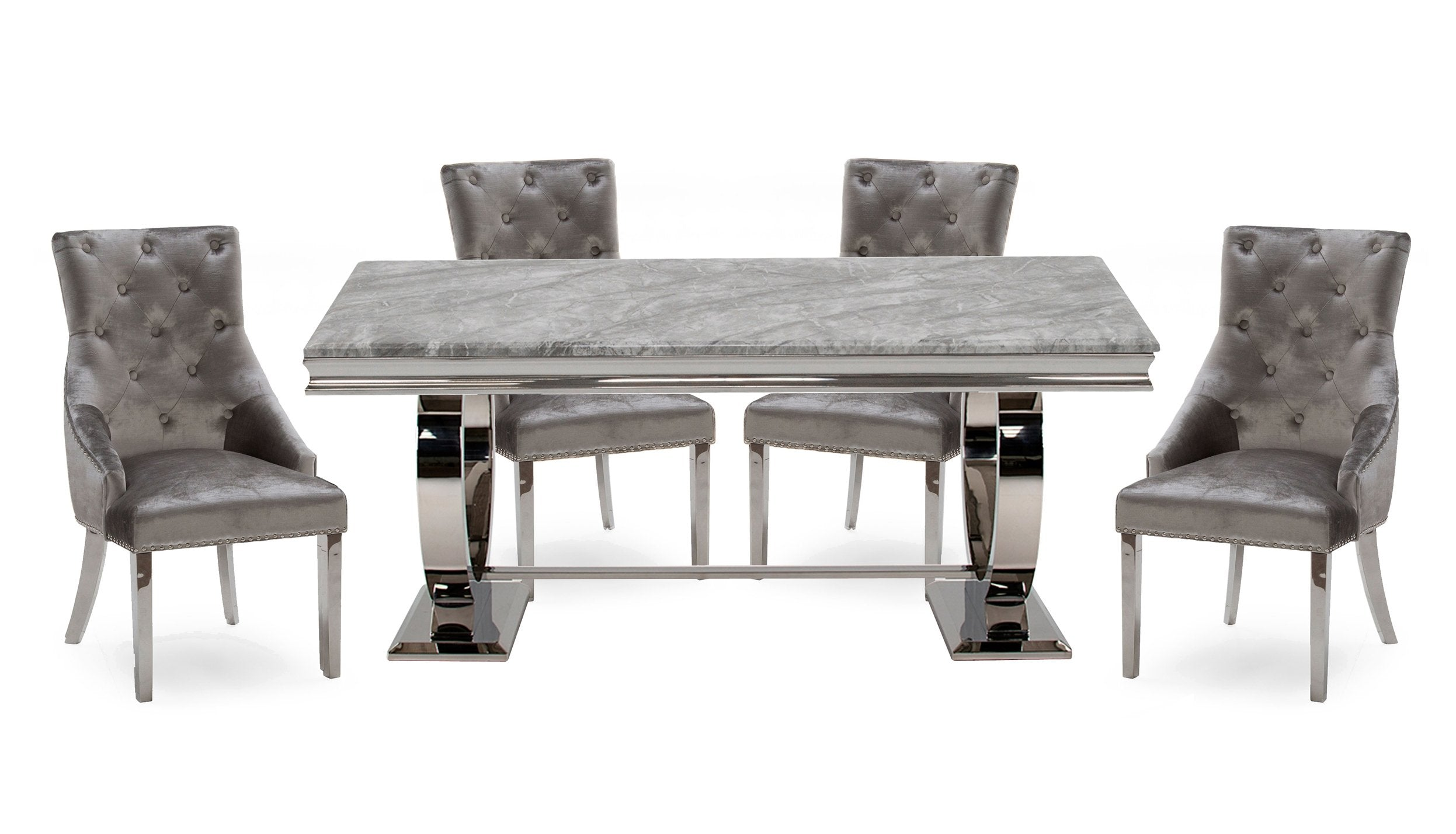 Romance Grey 2m Dining Table with 4 Chairs - AHF Furniture & Carpets