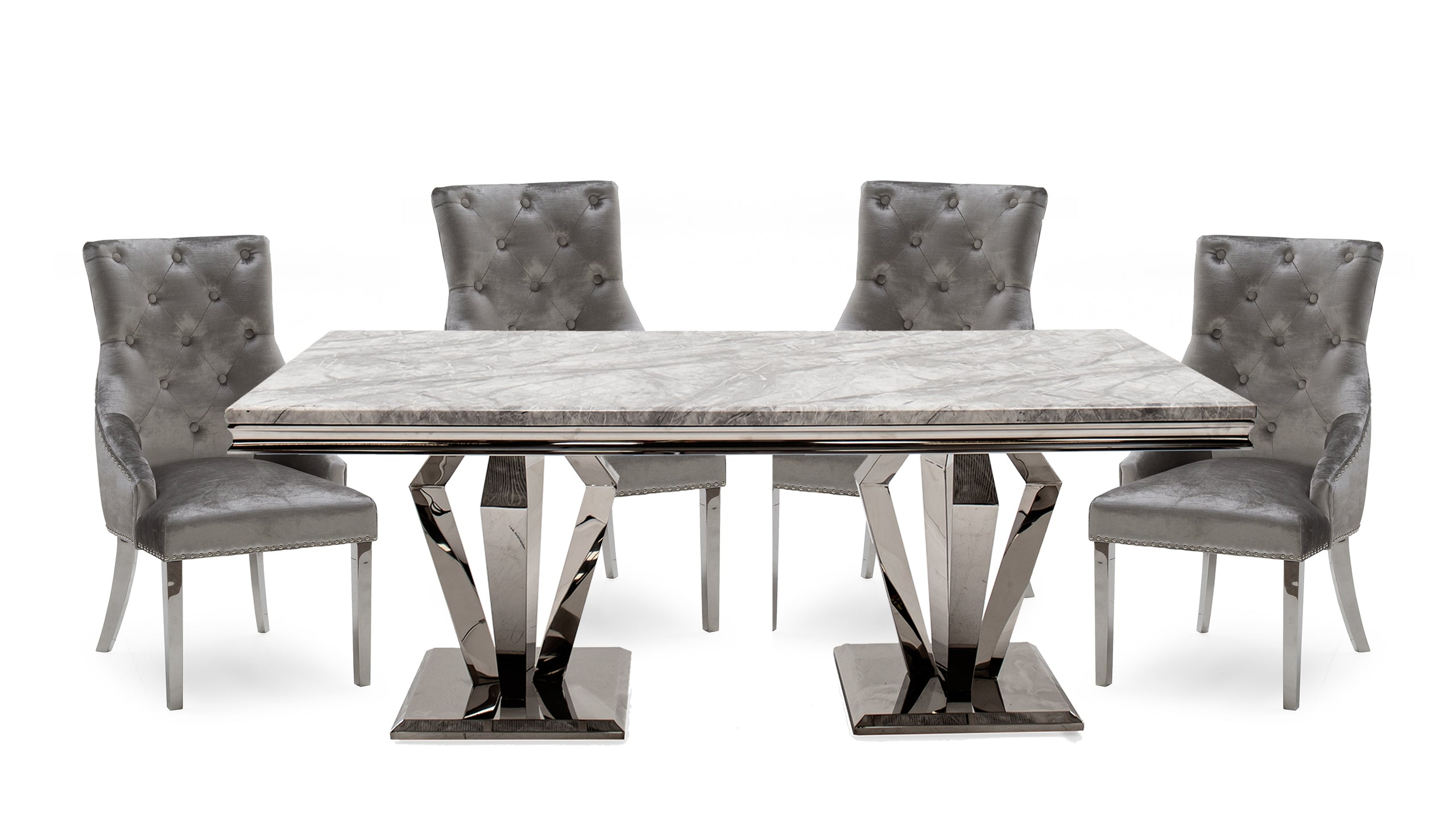 Picture of: Amour Grey Silver 2m Dining Table 4 Chairs Ahf Ahf Furniture Carpets