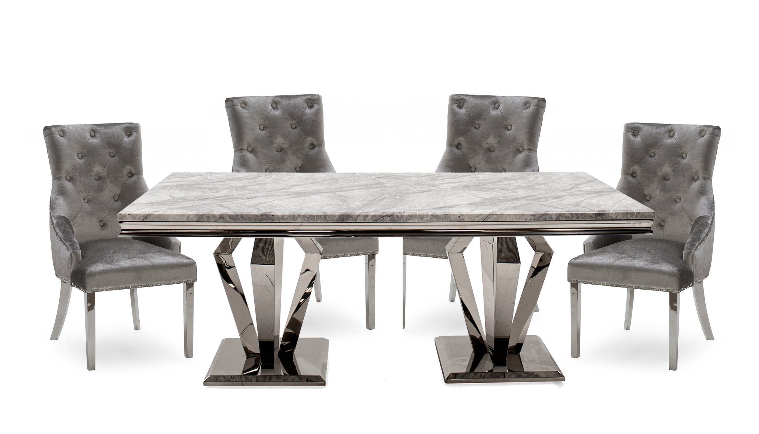 Amour 1.6m Marble Dining Table with 4 Chairs - AHF Furniture & Carpets