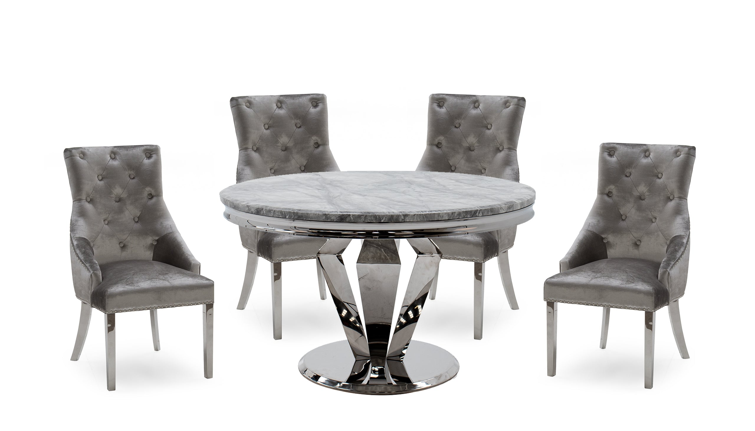 Amour 1.3m Marble Round Dining Table with 4 Chairs - AHF Furniture & Carpets