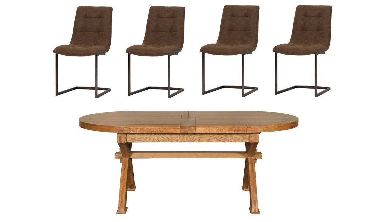 Hudson Extending Dining Table and 4 Industrial Chairs