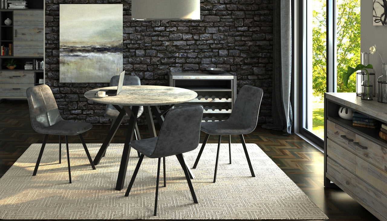 Tetro Round Concrete Effect Dining Table with 4 Dining Chairs - AHF Furniture & Carpets