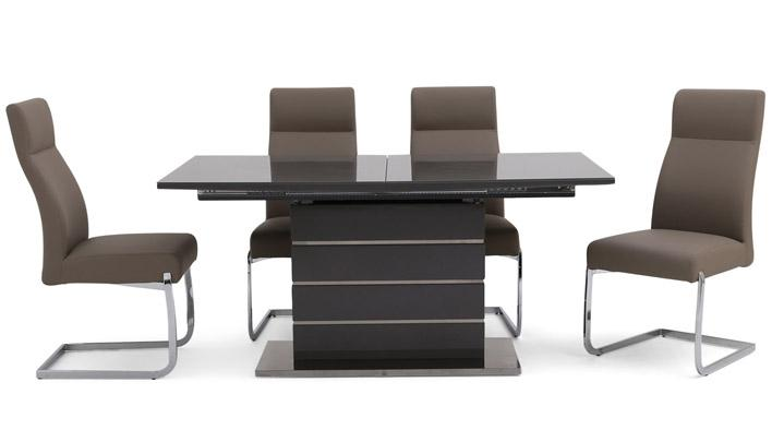 Tokyo Extending Grey Dining Set with 4 Chairs - AHF Furniture & Carpets