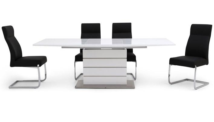 Tokyo Extending White Dining Set with 4 Chairs - AHF Furniture & Carpets