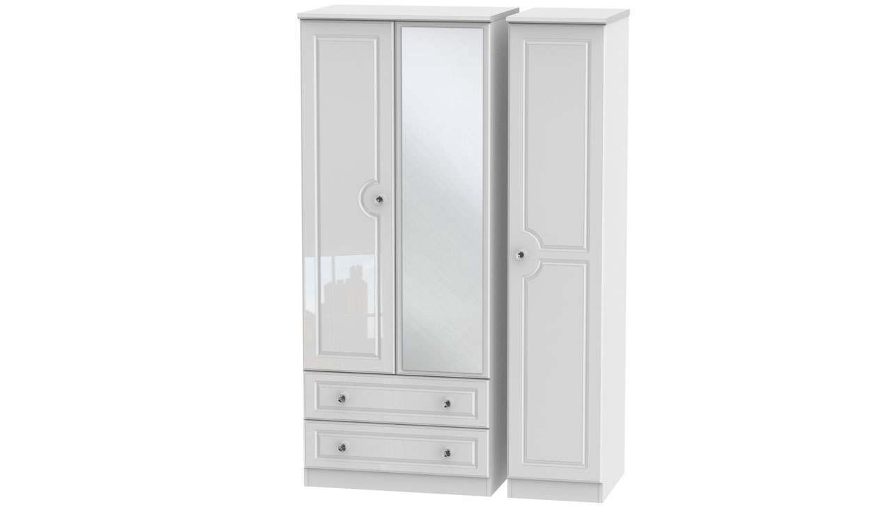 Ferndale Triple Wardrobe With Mirrors And 2 Drawers - AHF Furniture & Carpets
