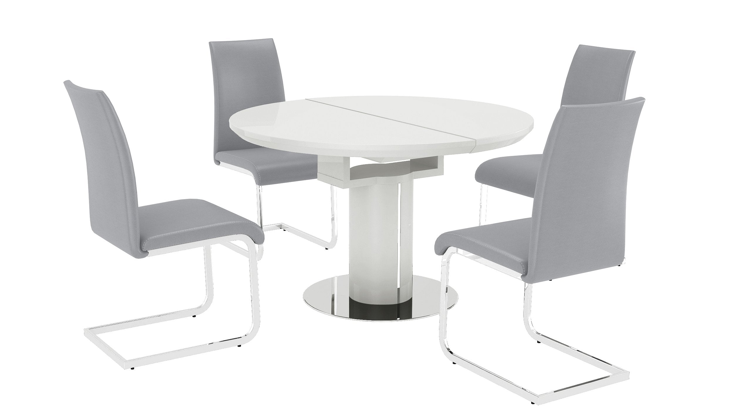 Kyoto White Round Extending Dining Table with 4 Chairs - AHF Furniture & Carpets