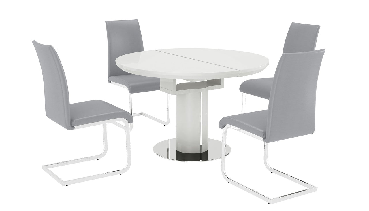 Picture of: White Round Extending Table With 4 Chairs Kyoto Ahf Ahf Furniture Carpets