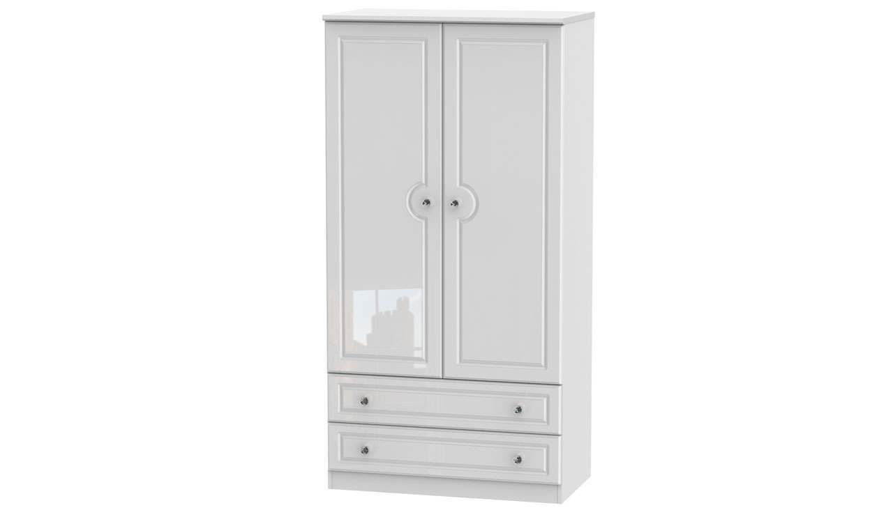 Ferndale Wide Double Wardrobe With 2 Drawers - AHF Furniture & Carpets