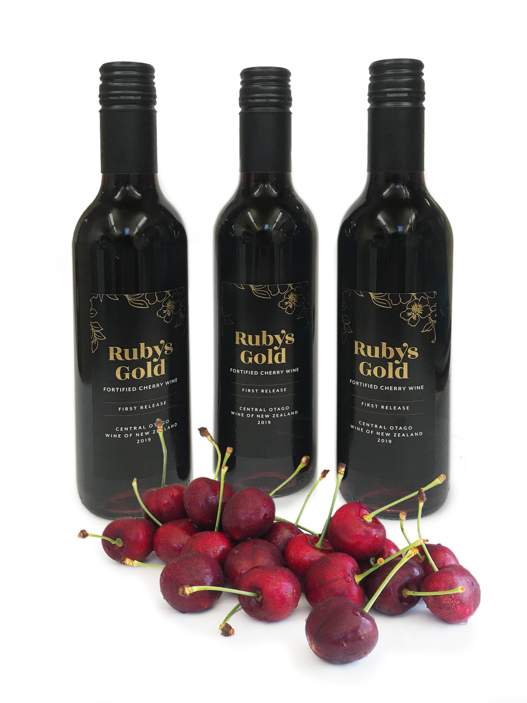 Three bottles of award-winning Ruby's Gold Fortified Cherry Wine - with free delivery - FreshFruit
