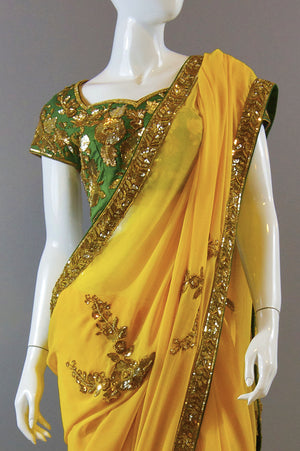 Bright Yellow Saree