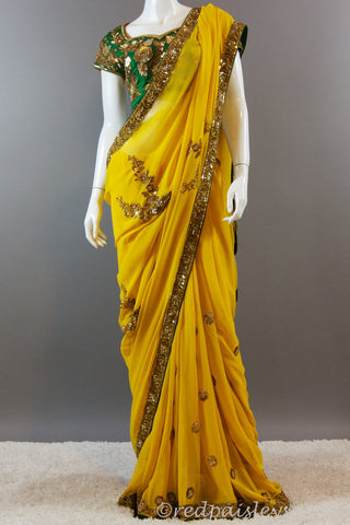 Yellow Gold Green Saree