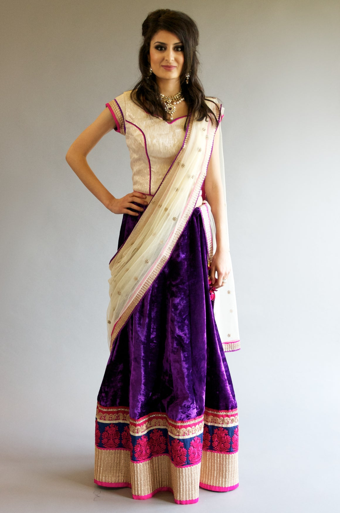 Purple Off White Velvet Lehenga