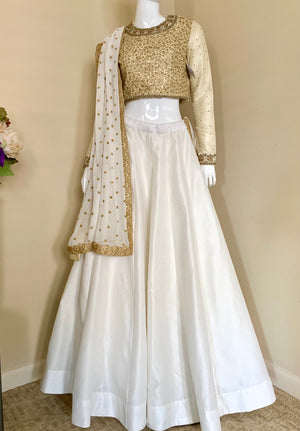 Winter white gold Lehenga
