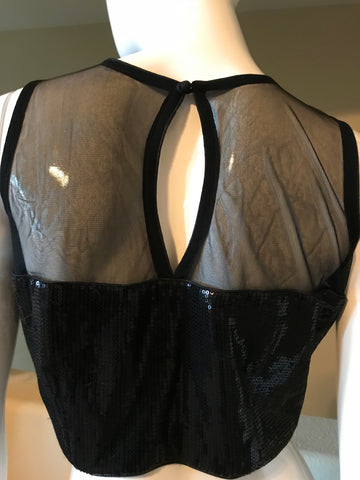 Black sequins sheer blouse